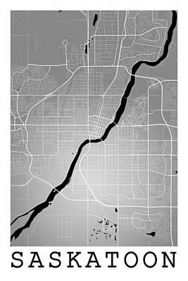 Nirvana - Saskatoon Street Map - Saskatoon Canada Road Map Art on Colored  by Jurq Studio
