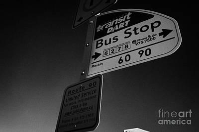 Saskatoon Transit Dart Bus Stop With Text Code For Bus Information Saskatchewan Canada Art Print by Joe Fox