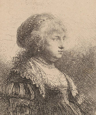 Saskia Drawing - Saskia With Pearls In Her Hair by Rembrandt