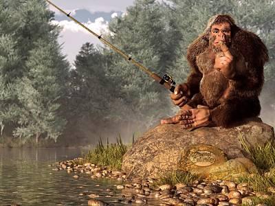 Bigfoot Digital Art - Sasquatch Goes Fishing by Daniel Eskridge
