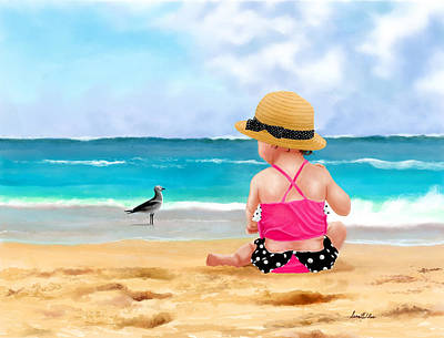 Painting - Sassy Beach Toddler by Sena Wilson