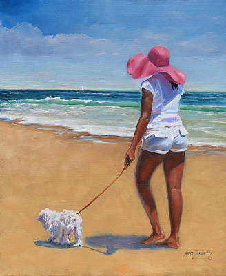 Dog Beach Painting - Sassy by Laura Lee Zanghetti