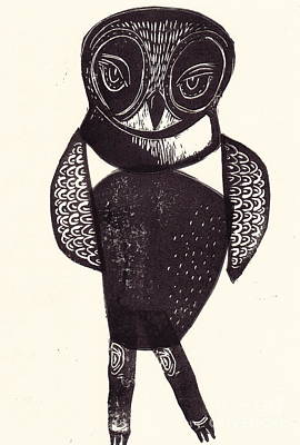 Printmaking Mixed Media - Sassy Owl by Coralette Damme