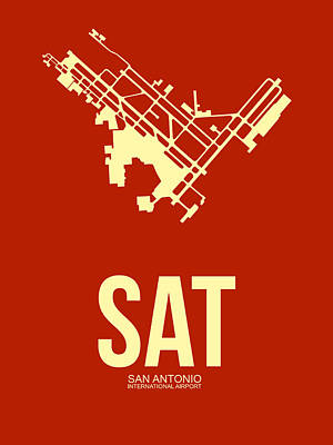 San Antonio Digital Art - Sat San Antonio Airport Poster 2 by Naxart Studio