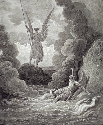 Fallen Angel Drawing - Satan And Beelzebub by Gustave Dore