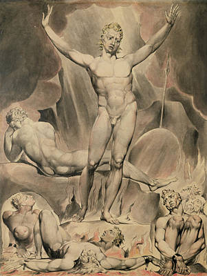The Heavens Drawing - Satan Arousing The Rebel Angels, 1808 by William Blake