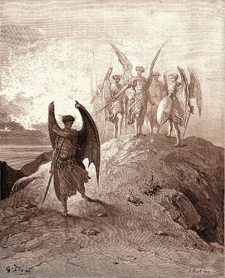 Vanquished Drawing - Satan Vanquished, By Gustave Dore. Dore, 1832 - 1883 by Litz Collection