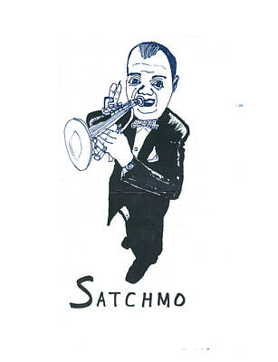 Art Print featuring the drawing Satchmo by Don Koester