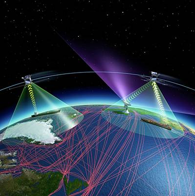 Satellite-based Ship Tracking System Art Print by Esa - P. Carril