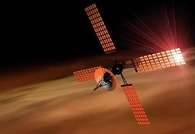 Digital Art - Satellite Orbiting Mars, Artwork by Victor Habbick Visions