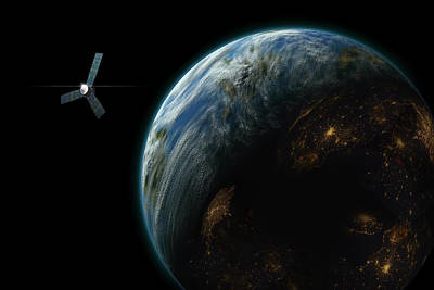 Luminous Globe Photograph - Satellite Planet  by Marc Ward