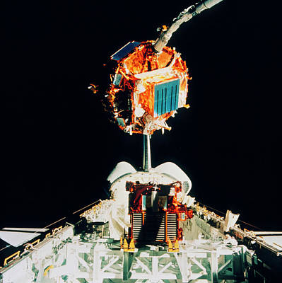 Satellite Retrieval By The Space Shuttle Endeavour Art Print
