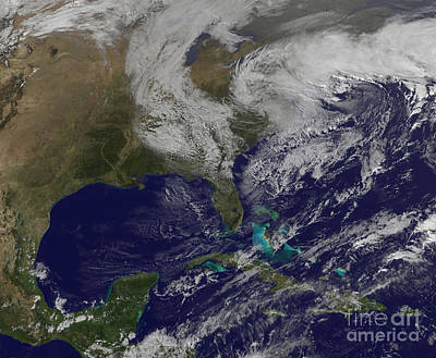 Satellite View Of A Noreaster Storm Print by Stocktrek Images