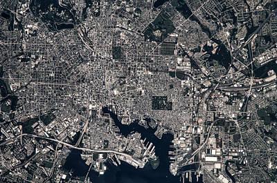 Satellite View Of Baltimore, Maryland Art Print