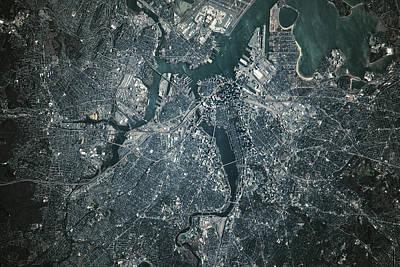 Satellite View Of Boston Art Print