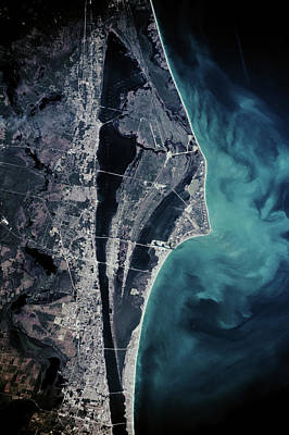 Satellite View Of Cape Canaveral Art Print