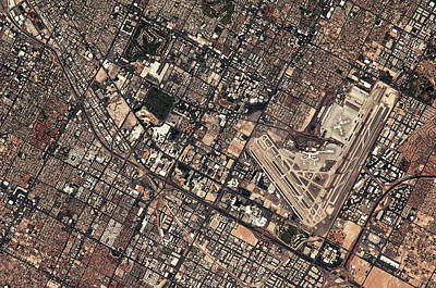International Airport Photograph - Satellite View Of Mccarran by Panoramic Images