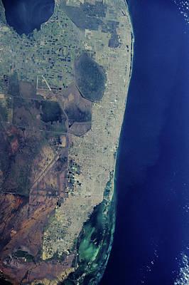 Satellite View Of Miami City Art Print