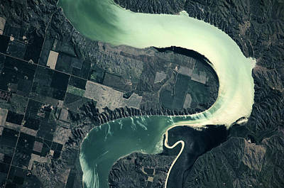 South Dakota Map Photograph - Satellite View Of Missouri River, South by Panoramic Images