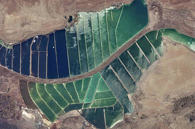 International Border Photograph - Satellite View Of Salt Evaporation by Panoramic Images