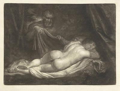 Sater Spy A Sleeping Nymph, Caspar Netscher Art Print