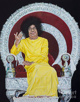 Baba Painting - Sathya Sai Baba  by Tim Gainey
