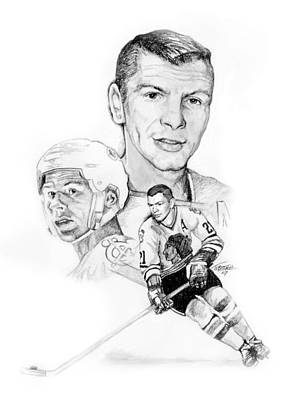 National Hockey League Drawing - Stan Mikita - Endurance by Jerry Tibstra