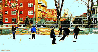 Hockey Sweaters Painting - Saturday Afternoon Hockey Practice At The Neighborhood Rink Montreal Winter City Scene by Carole Spandau