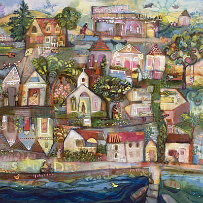 Painting - Saturday Beach Town Folk Landscape by Jen Norton