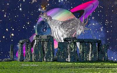 Saturn Capricorn Winter Solstice Stonehenge Original by Michele Avanti
