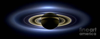 Saturn Cassini View High Contrast Art Print