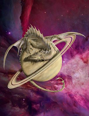 Digital Art - Saturn Dragon by Rob Carlos