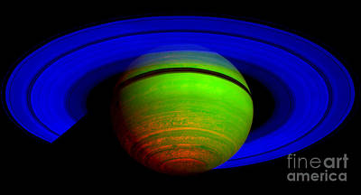 Saturn In Color Print by Paul Ward