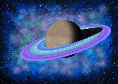Outer Space Painting - Saturn Journey by Georgeta Blanaru