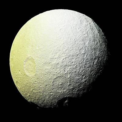 Albedo Photograph - Saturn's Moon Tethys by Nasa/jpl-caltech/space Scienc