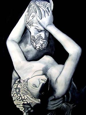 Satyre Et Bacchante Art Print by Emmanuel Turner