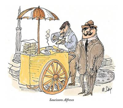 Hot Dogs Drawing - Saucissons Alfresco by William Steig