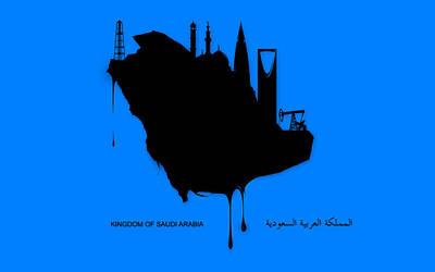 Islam Digital Art - Saudi Arabia Oil Map by Islamic Cards