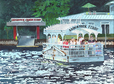 Painting - Saugatuck Chain Ferry by LeAnne Sowa