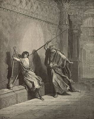 Yahweh Drawing - Saul And David by Antique Engravings