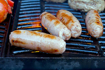 Sausages Slowly Cooking On The Barbecue Art Print by Fizzy Image