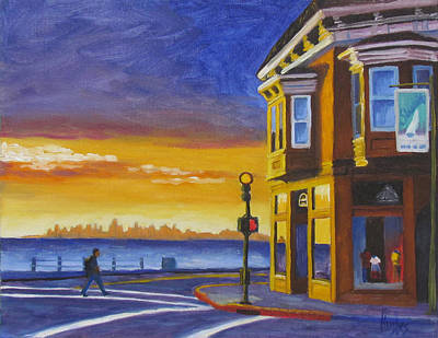 Streetscape Painting - Sausalito by Kevin Hughes