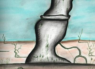 Savage Tree In The Desert Art Print by Dan Twyman