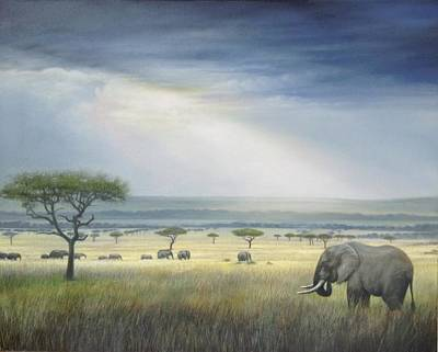 Painting - Savanna by Riek  Jonker