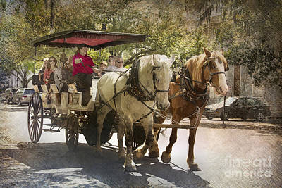 Savannah Carriage Ride Art Print by Carrie Cranwill