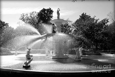 Photograph - Savannah Fountain - Black And White by Carol Groenen