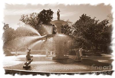 Photograph - Savannah Fountain In Sepia by Carol Groenen