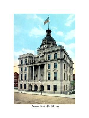 City Hall Digital Art - Savannah Georgia - City Hall - 1910 by John Madison