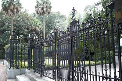 Savannah Fine Art . Savannah Old Trees Photograph - Savannah Georgia Mansion With Black Rod Iron Gates by Kathy Fornal
