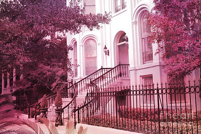 Savannah Dreamy Photograph - Savannah Georgia Romantic Pink House Gates by Kathy Fornal